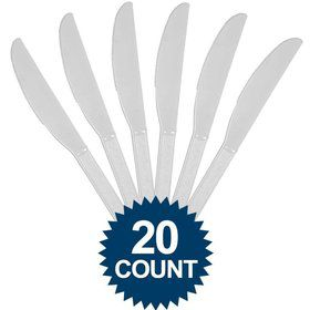 Silver Plastic Knives (20 Pack)