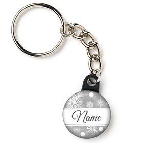 "Silver Snowflake Personalized 1"" Mini Key Chain (Each)"
