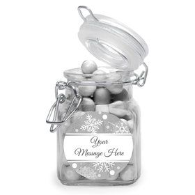 Silver Snowflake Personalized Glass Apothecary Jars (12 Count)