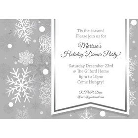 Silver Snowflake Personalized Invitation (Each)