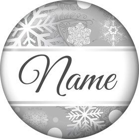 Silver Snowflake Personalized Mini Button (Each)