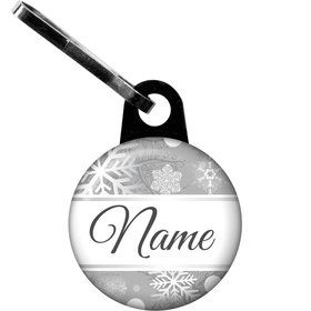 Silver Snowflake Personalized Zipper Pull (Each)