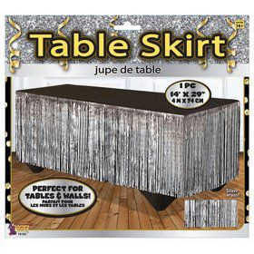 Silver Tinsel Table Skirt