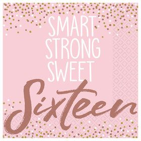 Sixteen Blush Beverage Napkins (16)
