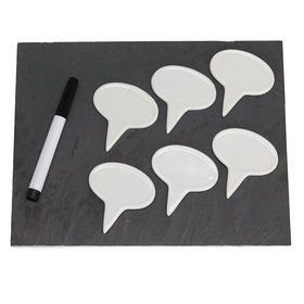 Slate Cheese Board w/ Porcelain Tags & Erasable Marker