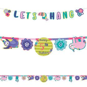 Sloth Celebration Jumbo Add-An-Age Letter Banner Kit