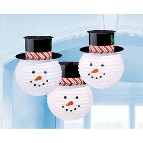 Snowmen Lanterns With Hats (3)
