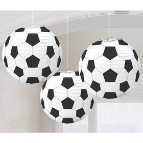 "Soccer 9 1/2"" Paper Lantern Decorations (3 Pack)"