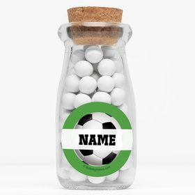 """Soccer Party Personalized 4"""" Glass Milk Jars (Set of 12)"""