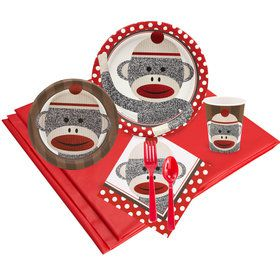 Sock Monkey Red 16 Guest Party Pack
