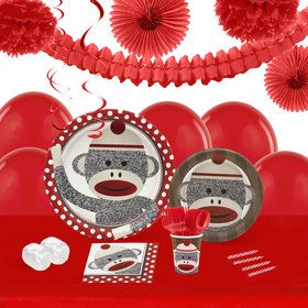 Sock Monkey Red 16 Guest Tableware Deco Kit