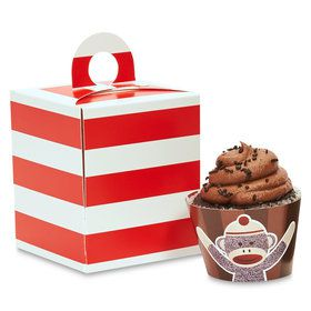 Sock Monkey Red Cupcake Wrapper Box Kit