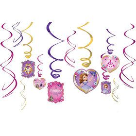 Sofia the First Hanging Foil Swirl Decorations (Each)