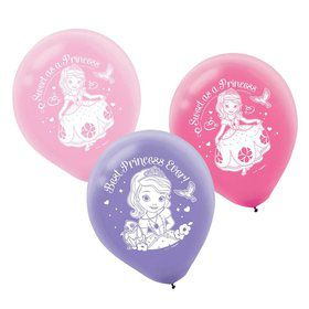 "Sofia the First Printed 12"" Latex Balloons (6 Pack)"