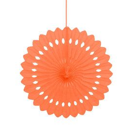 "Orange 16"" Decorative Fan Decoration (Each)"