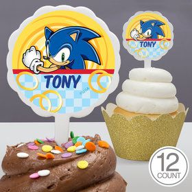 Sonic Personalized Cupcake Picks (12 Count)