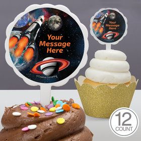 Space Blast Personalized Cupcake Picks (12 Count)