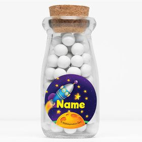 """Space Personalized 4"""" Glass Milk Jars (Set of 12)"""