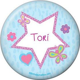 Sparkle Butterfly Personalized Button (each)