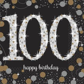 Sparkling Celebration 100th Birthday Beverage Napkins (16)