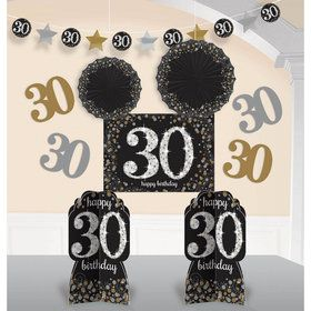 Sparkling Celebration 30th Birthday Room Decorating Kit (10 Pieces)