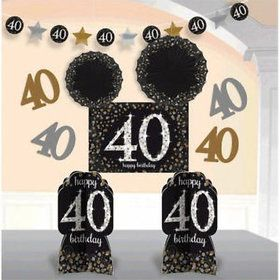 Sparkling Celebration 40th Birthday Room Decorating Kit (10 Pieces)