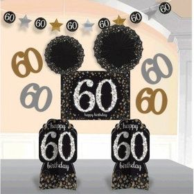 Sparkling Celebration 60th Birthday Room Decorating Kit (10 Pieces)