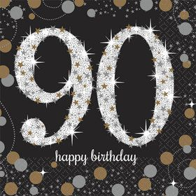 Sparkling Celebration 90th Birthday Beverage Napkins (16)
