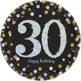 Sparkling Celebration Prismatic 30th Birthday Dessert Plates (8)