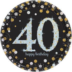 Sparkling Celebration Prismatic 40th Birthday Dessert Plates (8)