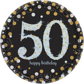 Sparkling Celebration Prismatic 50th Birthday Dessert Plates (8)
