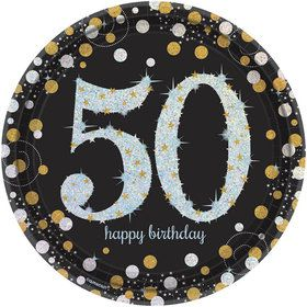 Sparkling Celebration Prismatic 50th Birthday Lunch Plates (8)