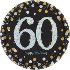 Sparkling Celebration Prismatic 60th Birthday Dessert Plates (8)