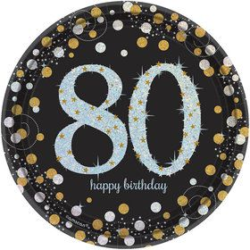 Sparkling Celebration Prismatic 80th Birthday Dessert Plates (8)