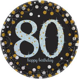Sparkling Celebration Prismatic 80th Birthday Lunch Plates (8)
