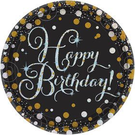 Sparkling Celebration Prismatic Birthday Dessert Plates (8)