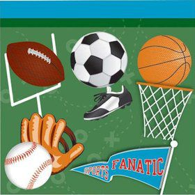 Sports Party Beverage Napkins (16 Pack)