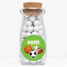 "Sports Party Personalized 4"" Glass Milk Jars (Set of 12)"