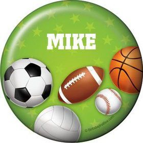 Sports Party Personalized Button (each)