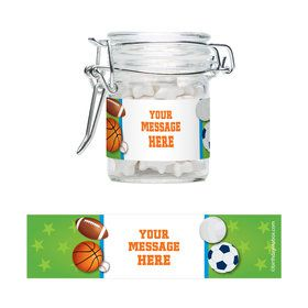 Sports Party Personalized Glass Apothecary Jars (10 Count)