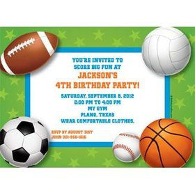 Sports Party Personalized Invitation (each)