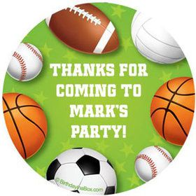 Sports Party Personalized Stickers (sheet of 12)