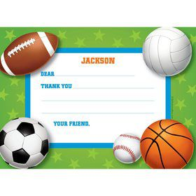 Sports Party Personalized Thank You Note (each)