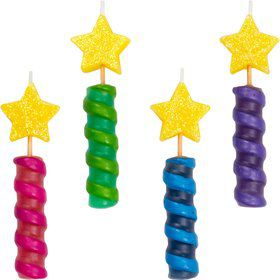 "Star-topped Spiral 3"" Birthday Candles (4 Pack)"