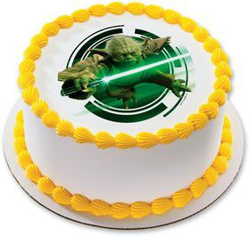"Star Wars Yoda 7.5"" Round Edible Cake Topper (Each)"