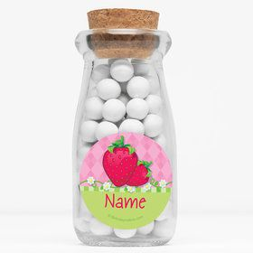 "Strawberry Friends Personalized 4"" Glass Milk Jars (Set of 12)"