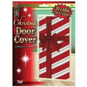 Striped Christmas Door Cover