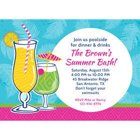 Summer Drinks Personalized Invitation (Each)