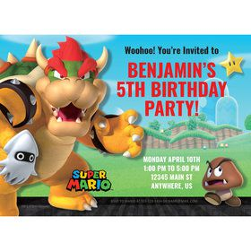 Super Mario Bros. Bowser Personalized Invitation (Each)