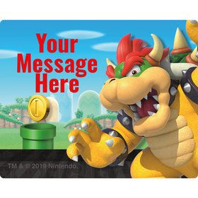 Super Mario Bros. Bowser Personalized Rectangular Stickers (Sheet of 15)